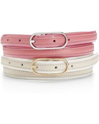 Calvin Klein White Label Two Skinny Leather Belts - Lyst