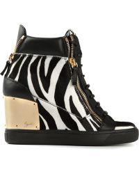 Giuseppe Zanotti Zebra Print Hitop Sneakers - Lyst