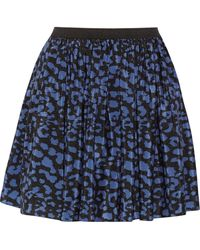 Sea Printed Silk Mini Skirt - Lyst