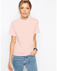 Asos The High Neck T-Shirt pink - Lyst