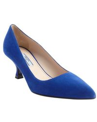 Prada Blue Suede Pointed Toe Kitten Heel Pumps - Lyst