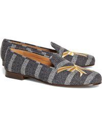 Brooks Brothers Herringbone Stripe with Bow Slipon Shoe - Lyst