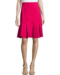 Carolina Herrera Double-Face Skirt W/ Flare Hem - Lyst