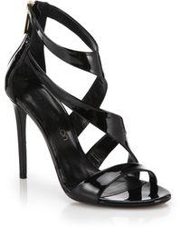 Tamara Mellon Tiger Patent Leather Sandals black - Lyst