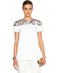 J. Mendel Short Sleeve Embroidered Top white - Lyst