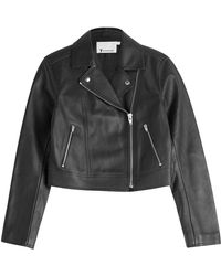 T By Alexander Wang Cropped Leather Biker Jacket - Lyst