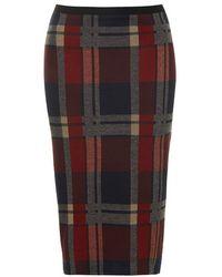 Topshop Blanket Check Tube Skirt - Lyst
