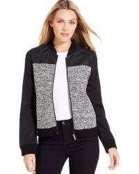 Calvin Klein Jeans Mixed-media Bomber Jacket - Lyst