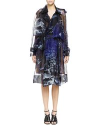 Lanvin Printed Silk Organza Trench Coat - Lyst