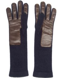 Inverni - Knitted Cashmere And Leather Gloves - Lyst