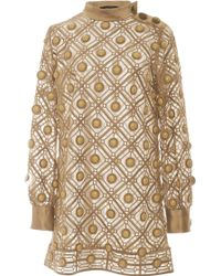 Marc Jacobs Gold Diagonal Embroidery Dress - Lyst