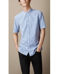 Burberry Striped Cotton Seersucker Shirt - Lyst