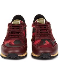 Valentino Camo-print Leather Suede and Canvas Trainers - Lyst