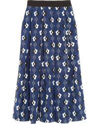 Lulu & Co - Printed Silk-Crepe Skirt - Lyst
