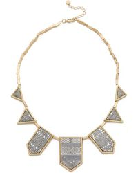 House Of Harlow 1960 Engraved Classic Station Necklace - Gold/Silver - Lyst