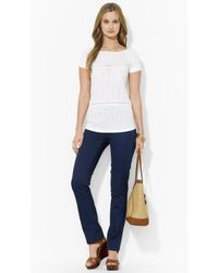 Lauren by Ralph Lauren Eyelet Cotton Top - Lyst