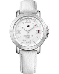 Tommy Hilfiger Womens White Leather Strap Watch 38mm - Lyst