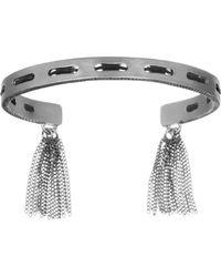 Sam Edelman Silver-tone and Black Leather Stitched Cuff Bracelet - Lyst