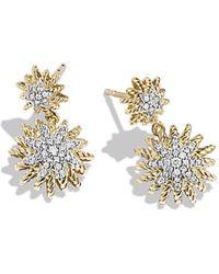 David Yurman Starburst Earrings With Diamonds In 18K Gold - Lyst