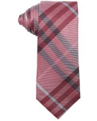Burberry Military Red Checkered Silk Tie - Lyst