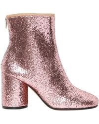 Maison Margiela 80Mm Glittered Ankle Boots - Lyst
