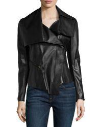 Donna Karan New York Asymmetric Leather Motorcycle Jacket - Lyst