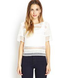 Forever 21 Sheer Embroidered Top - Lyst