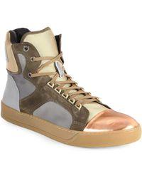 Lanvin Satin & Metallic Leather High-Top Sneakers - Lyst