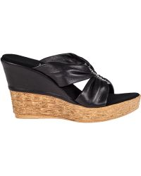 Onex For Jildor Trinity Wedge Sandal Black Leather - Lyst