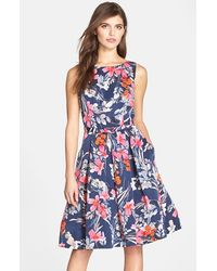 Eliza J Belted Print Fit & Flare Dress - Lyst