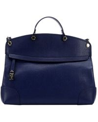 Furla Navy Leather 'Piper' Large Top Handle Bag - Lyst