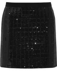 Karl Lagerfeld Harlow Sequined Quilted Jersey Mini Skirt - Lyst