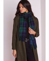 Missguided - Multi Check School Scarf Green - Lyst