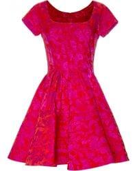 Zac Posen | Short Sleeve Floral Jacquard Scoopneck Party Dress | Lyst