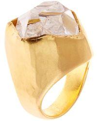 Pippa Small Herkimer Diamond-quartz  Yellow-gold Ring - Lyst