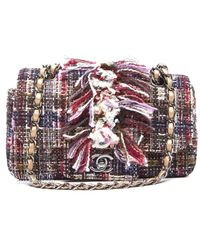 Chanel Preowned Multicolor Tweed Small Flap Bag - Lyst