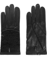 Nina Ricci Leather And Lace Gloves - Lyst