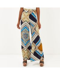 River Island Navy Scarf Print Palazzo Pants - Lyst
