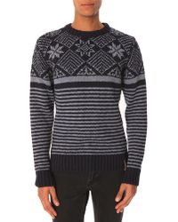 Knowledge Cotton Apparel Knit Jacquard Grey Sweater - Lyst