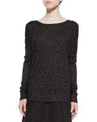 Vince Textured Long-Sleeve Boat-Neck Top - Lyst