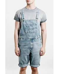 Topman Denim Overall Shorts blue - Lyst