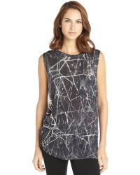 Haute Hippie Black and White Printed Knit Crewneck Sleeveless Tee - Lyst