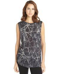 Haute Hippie Black and White Printed Knit Crewneck Sleeveless Tee - Lyst