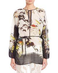Roberto Cavalli   Printed Silk Georgette Caftan Top   Lyst