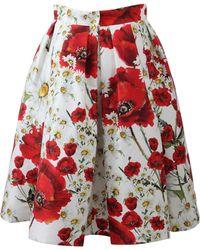 Dolce & Gabbana | Full Poppy Print Skirt | Lyst