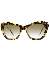 Miu Miu Glow Mu 03Ps 7S09S1 Medium Havana And Gold Plastic Cat Eye Sunglasses Brown Gradient Lens - Lyst