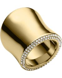 Michael Kors Golden Pave Large Statement Ring - Lyst