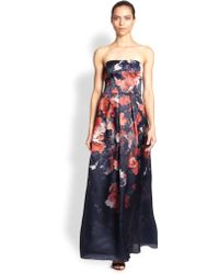 Kay Unger Floral Strapless Gown - Lyst