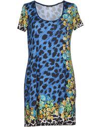 Versace Blue Short Dress - Lyst