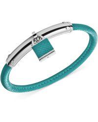 Michael Kors Silver-Tone Padlock Bangle Bracelet - Lyst